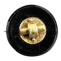Antique Victorian Gold Filled and Onyx Mourning Brooch Pin
