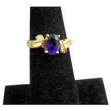 14K Gold Amethyst and Diamond Ring Size 6