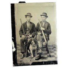 Antique Tintype Photo Of 2 Men With Shotguns and a Dog