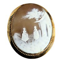 Victorian Gold Filled Shell Carved Cameo Pin