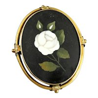 Large Antique 14K Gold and Mosaic Pietra Dura Brooch Pin