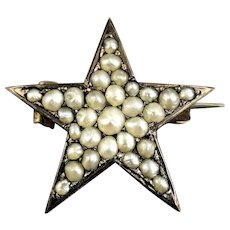 Victorian Gold Filled and Freshwater Seed Pearl Star Brooch Pin