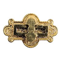 Victorian Gold Filled Brooch Pin With Engraved Face