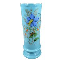 "Antique French Blue Opaline Art Glass Enamel Hand Painted 11"" Floral Vase"
