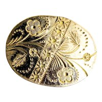 Victorian Oval Floral Engraved Gold Filled Brooch Pin