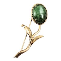 Vintage 14k Yellow Gold and Green Nephrite Jade Brooch Pin