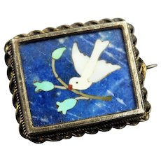 Antique Silver and Blue Mosaic Pietra Dura Brooch Pin With White Dove