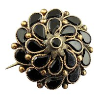 Victorian 14k Yellow Gold and Onyx Mounting Pin Brooch