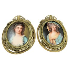 Antique Ladies Portrait Paintings on Porcelain In Ornate Gilded Brass Frames