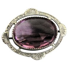 Vintage Amethyst Pin Brooch With Engraved Frame