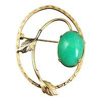 Vintage Gold Filled and Jade Pin Brooch W Hallmark