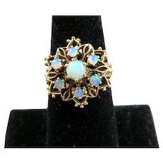 Fancy 14K Yellow Gold Filigree Opal Ring 7 3/4
