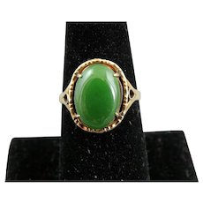 Classic 14K Yellow Gold Green Jade Cabochon Ring