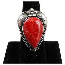 Vintage Native American Sterling Silver and Red Coral Ring Size 8