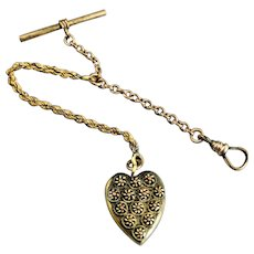 Edwardian Gold Filled Pocket Watch Chain With Heart Fob