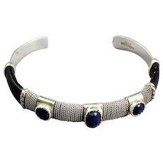 Vintage Sterling Silver and Blue Lapis Cuff Bracelet