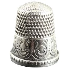 Antique Simon Bros Engraved Sterling Silver Thimble Size 11