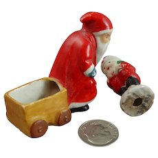 2 Vintage Miniature Japan Porcelain Santa Claus Figurines