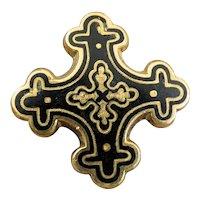 Victorian Gold Filled Black Enamel Botonée Heraldic Cross Pin Pendant