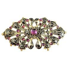 Ornate Victorian Hand Made Black Enamel and Amethyst Gold Gilded Belt Buckle