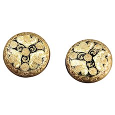 Victorian Gold Filled Taille D'Epargne Enamel Cuff Buttons