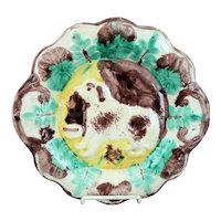 Antique English Majolica Dog Tray Plate Ca 1880