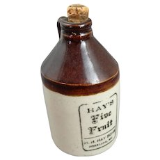 Antique Hay's Five Fruit Stoneware Miniature Advertising Jug from Portland, Maine