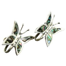 Vintage Mexican Sterling Silver and Abalone Butterfly Screw Back Earrings