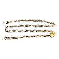 """Victorian Gold Filled 30"""" Long Slide Chain Watch Lorgnette Necklace"""