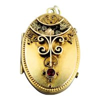Fancy Victorian Gold Filled Locket With Red Stone