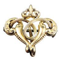 Vintage Edwardian Gold Filled Fleur D Lis Watch Pin Brooch