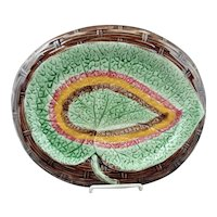 Antique American Etruscan Majolica Leaf Platter by Griffin Smith & Hill 12 1/2""