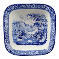 Blue Staffordshire Transfer Pearlware Fruit Bowl Girl Musician By Riley MINT