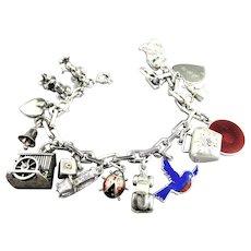 Heavy Vintage Sterling Silver Charm Bracelet Mickey & Minnie