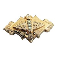 Victorian Fancy Engraved Gold Filled Seed Pearl Brooch Pin