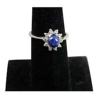 10K White Gold Blue Star Sapphire & Diamond Ring 6 1/4