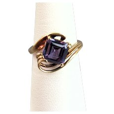 10k Yellow Gold 2.60ct Synthetic Alexandrite Ring Size 6.5