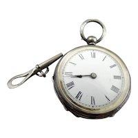 Fancy Antique English Open Face Pocket Watch Birmingham 1883 Works Fine