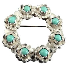 Vintage Sterling Silver Round Natural Turquoise Flower Pin Brooch