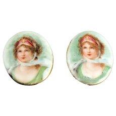 Pair of Limoges Porcelain Lady Portrait Collar Buttons
