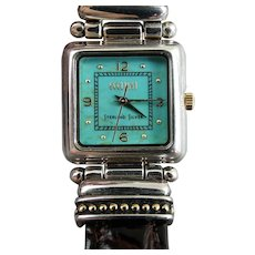Ecclissi Sterling Silver Turquoise Dial Ladies Wristwatch Watch