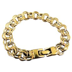 Mid Century Monet Double Curb Link Starter Charm Bracelet