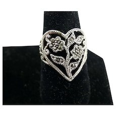 Vintage Sterling Silver and Marcasite Heart Shaped Ring Size 5 1/2