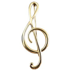 Vintage Estate Solid 14k Gold Treble Clef Musical Note Pin Brooch