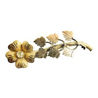 Victorian Gold Filled Brooch Pin Flower & Leaves