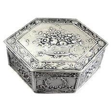 Ornate Antique Continental Silver Trinket Box Basket Of Flowers
