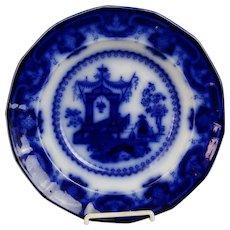 """Antique Staffordshire Flow Blue Oregon 10 1/2"""" Flat Soup"""