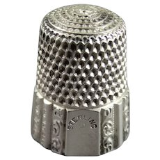 Victorian Sterling Silver Sewing Thimble Size 8