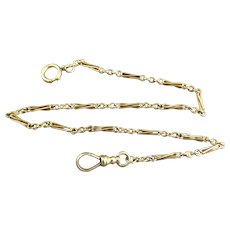 Edwardian 14K Yellow Gold Long Link Pocket Watch Chain