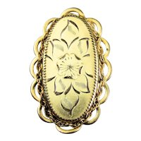 Vintage Oval Gold Filled Brooch Pin